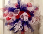 Red, White, and Blue Patriotic Deco Mesh Wreath