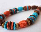 Nursing teething necklace - Crochet necklace brown orange turquoise Free Worldwide Shipping