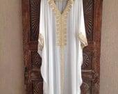 White caftan beach wedding kaftan silk dress