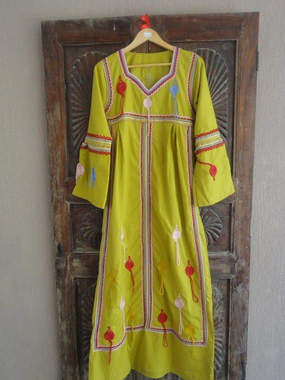 Lime cotton Egyptian Style Caftan Dress