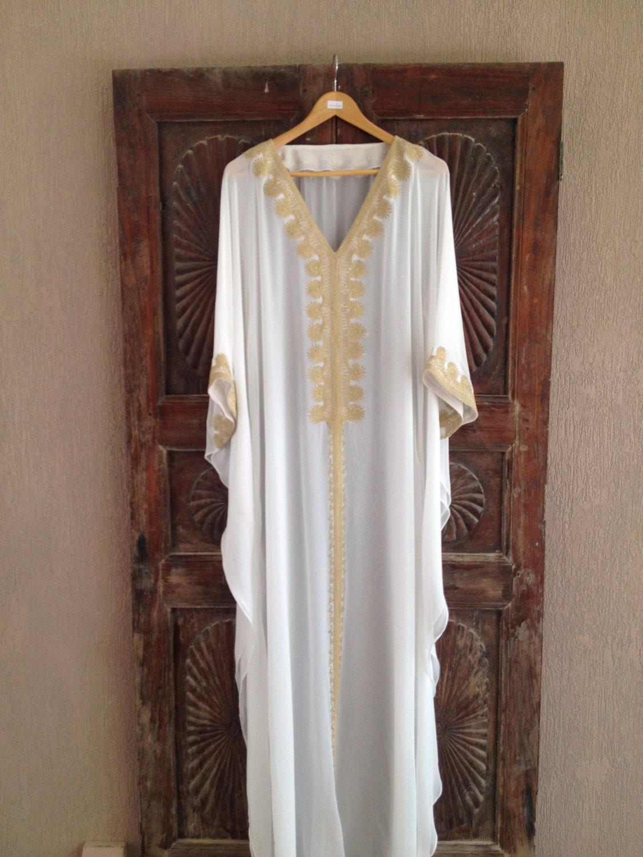 White caftan beach wedding kaftan silk dress for White kaftan wedding dress