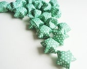 Lucky Origami Stars - GREEN WITH DOTS - for scrapbooking, journals, jewelry, birthday cards, confetti - 20 stars -other colors available
