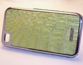 Leather Iphone 4/4s case Caiman Crocodile (Lime Green)