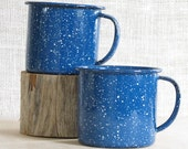 Pair of Blue Speckled Enameled Coffee Cups / Camping / Enamelware