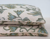 Pair of Vintage Crewelwork Pillows, Birds, Floral, Home Decor