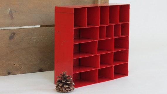 Vintage Red Metal Industrial Shelf - Cubbie - Organizer / Mid Century Office