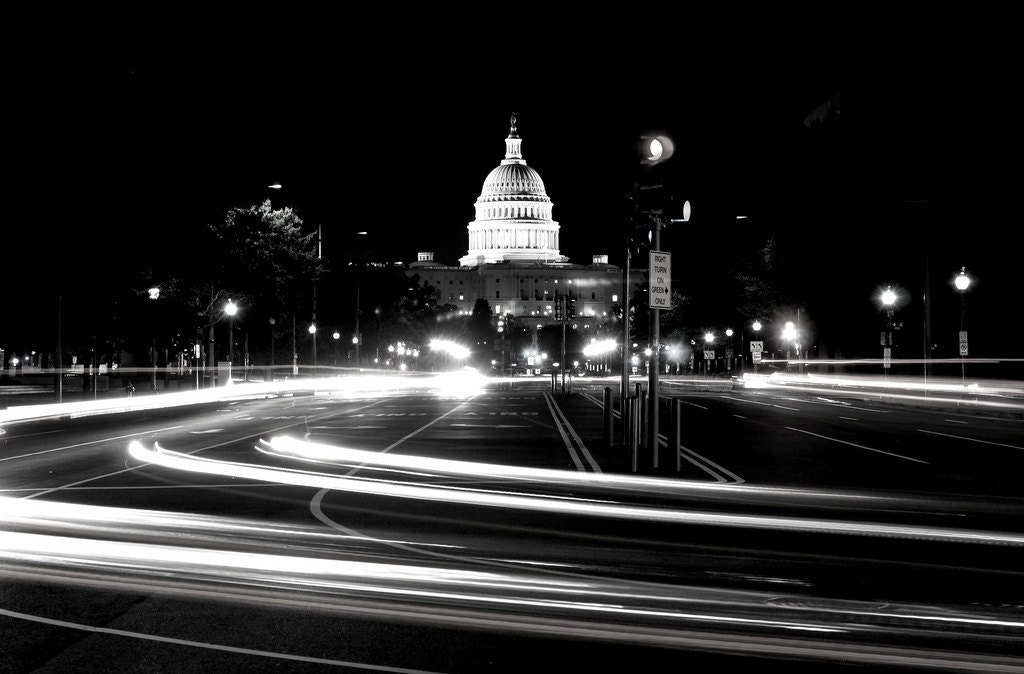 Capitol Exposure Black And White Washington Dc By