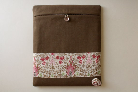 SALE - iPad case, iPad2 cover, iPad3 sleeve, Padded - Brown/Pink Removable Flower