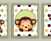 POP MONKEY Giclee Print Set of 3 Nursery Baby Bedding Wall Decor Art Mod Pod DOTS Jungle Animal Boy Girl Baby Kids Children 8x10 Wall Decor