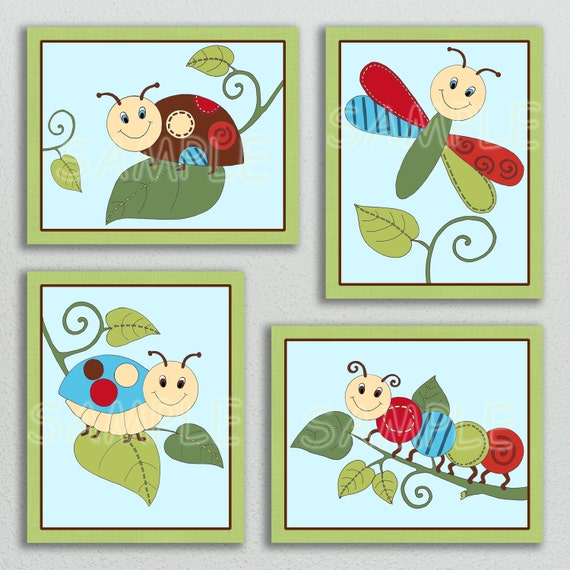 Dragonfly Nursery Wall Decor : Items similar to critter babies print set of baby
