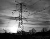 8x10 photography print - power tower - black and white