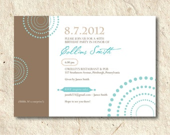 Party Invitation  - Circle Time - Custom Color and Font - Printable DIY