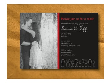 Engagement Party Invitation  - Photo - Printable DIY - Custom Color and Font
