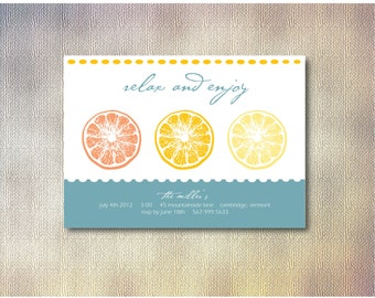 Summer Party Invitation  - Relax and Enjoy  - Printable DIY - Custom Color and Font