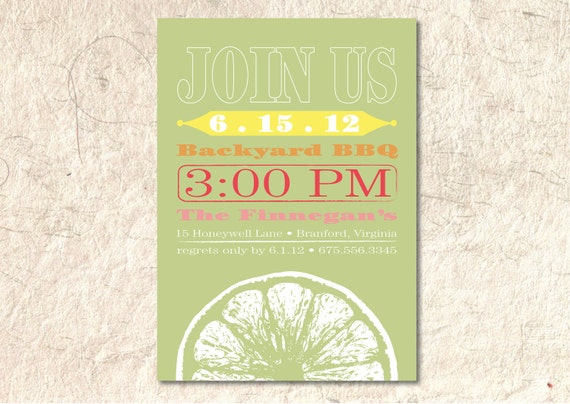 Summer Party Invitation  - Citrus BBQ  - Printable DIY - Custom Color and Font