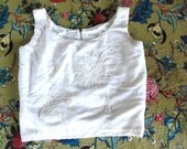 vintage 1960s white BEADED lambswool EMBROIDERED sequin cropped sweater tank M