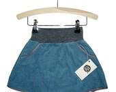 girls spring skirt made of blue corduroy