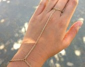 SALE Gold, Silver, or Bronze - Single Bracelet Ring Hand Chain