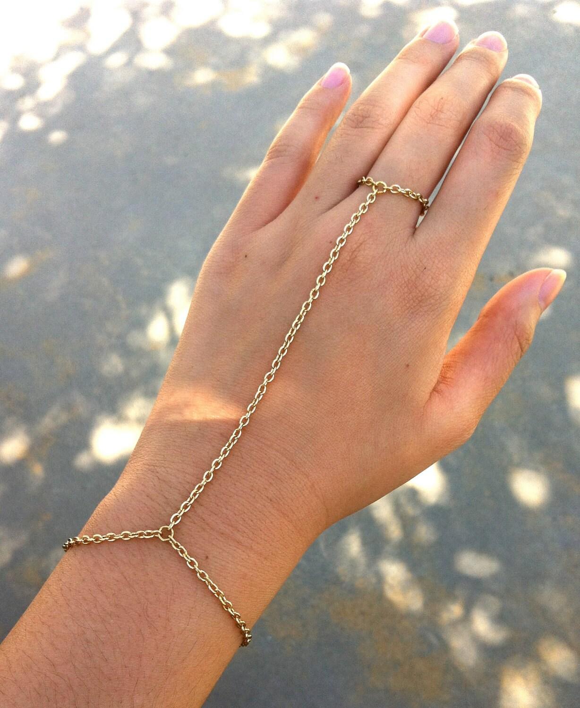 Etsy Chain Bracelet Bracelet Ring Hand Chain