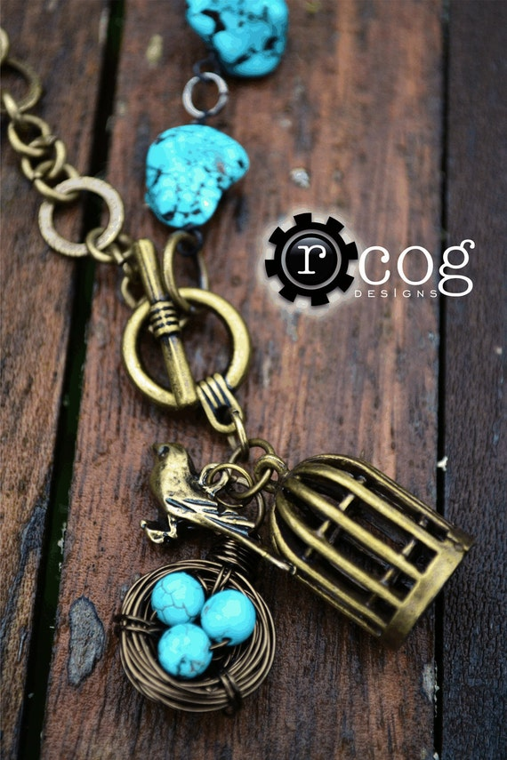 Turquoise and Antique Bronze Necklace: Wire Birds Nest, Birdcage, Bird Charm, Turquoise Eggs, Turquoise Beads with Toggle Clasp