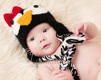 Crocheted Newborn/Toddler Penguin Earflap Hat/Baby Photo Prop