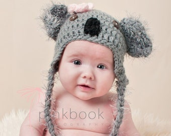 Crocheted Newborn/Toddler Baby Koala Hat/Baby Photo Prop