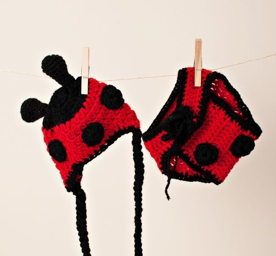 Newborn/Toddler Crocheted Lady Bug Hat And Diaper Cover/Baby Photo Prop