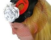 Red Birdcage Veil, Upcycled Record Fascinator, Sheet Music Flowers