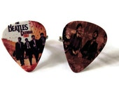 Beatles Cuff Links, Guitar Pick Sepia Groom Mens Jewelry