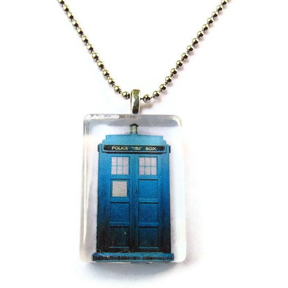 Tardis Necklace, Doctor Who Glass Tile Pendant Necklace, Geeky Jewelry