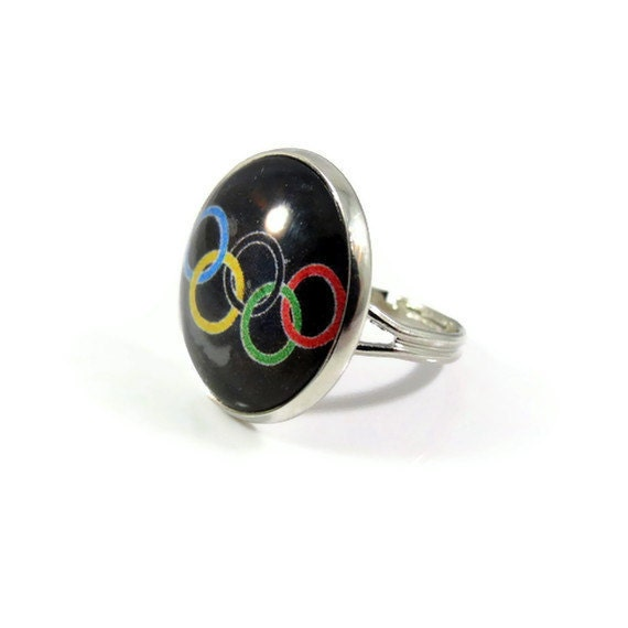 Olympics Ring Adjustable Silver Tone Ring Black By