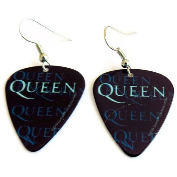 Queen Earrings, Freddie Mercury Guitar Pick Earrings
