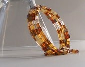 SALE Brown Gold Boho Chic Beaded Bracelet Tortoise Shell Memory Wire Wrap Stacked Fashion Jewelry Earth Tones PaisleyBeading FREE Shipping
