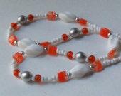 Long Beaded Necklace Tangerine White Orange Vintage Beads Fashion Statement Czech Glass