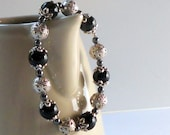 Silver Black Bracelet Feminine Filigree Hematite Grey Beaded Fashion Jewelry Stretch Elastic Victorian