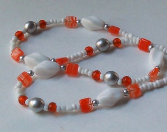 Long Beaded Necklace Tangerine White Orange Vintage Beads Fashion Statement Czech Glass
