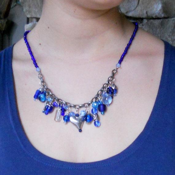 boho cobalt blue statement necklace chunky by paisleybeading