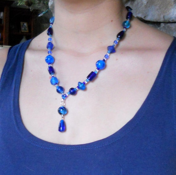 Cobalt Blue Beaded Y Necklace Sapphire Royal Fashion Jewelry Lampwork Beads Silver Toggle Clasp