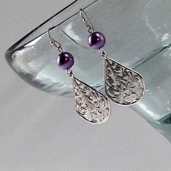 Purple Silver Dangle Earrings - Lavender Pearl - Filigree Teardrop Dangles - Fashion Jewelry