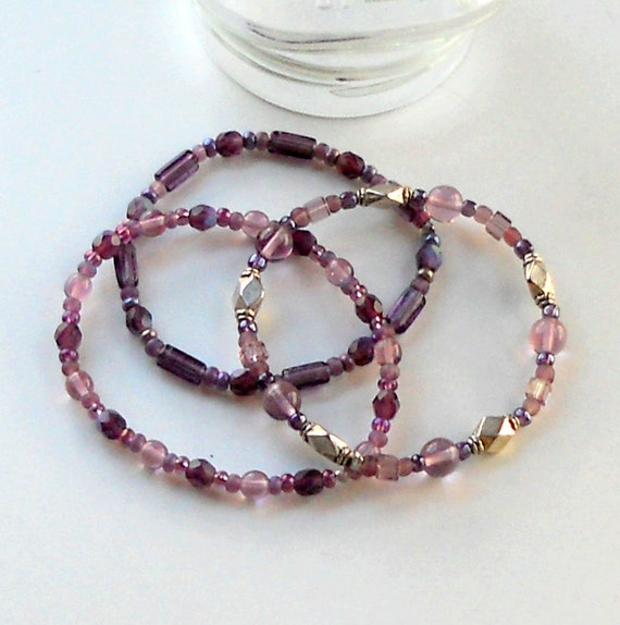 Set of 3 Three Purple Beaded Bracelets Stacking Bangles Plum Silver Stacked Stretch Fashion Jewelry Elastic