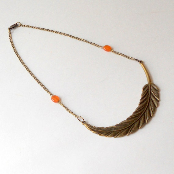 Feather Necklace Antique Bronze Autumn Teens Fashion Orange Beads Fashion Jewelry Peach Brass Gold Choker Collar Large Metal