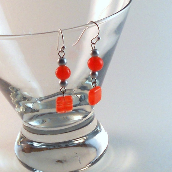Tangerine Dangle Earrings, Summer Orange Silver Matte, Vintage Beads, Czech Glass, Beaded Dangles, Fashion Jewelry