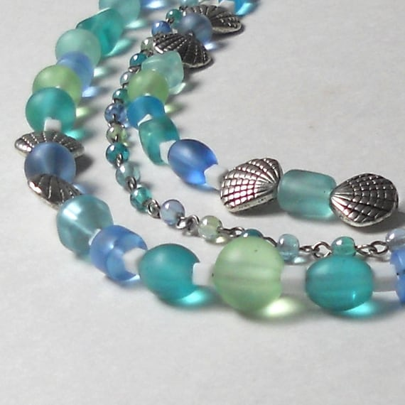 Sea Glass Statement Necklace 3 Strand Beaded Aqua Green Blue Silver Summer Resort Cruise Ocean Water Cool Shell Seashell Fashion Jewelry