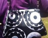 Black and White flower print Handbag