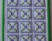 Hand made mini quilt purple green cross stitch pattern miniature doll house size