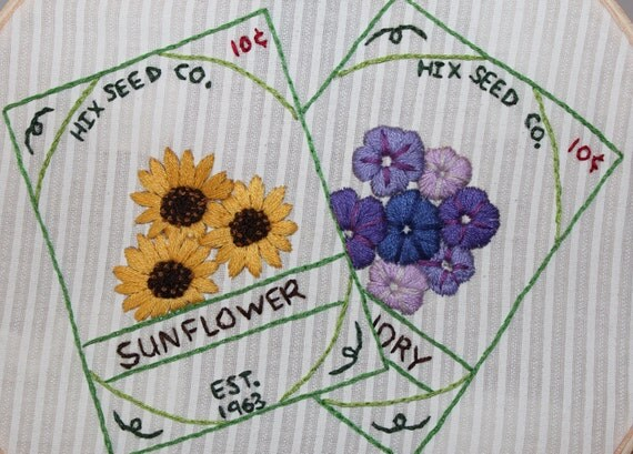 Hand Embroidery pattern set of four Vintage Floral Seed Packets original Purrfect Stitchers design