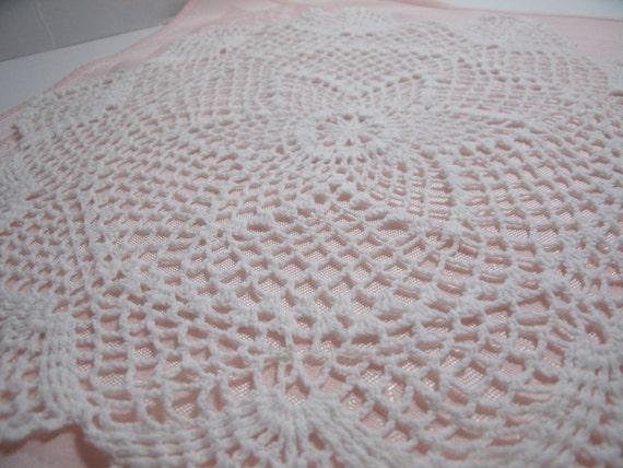 Vintage Crochet Doily white Cottage Chic home decor 14 inch round handmade