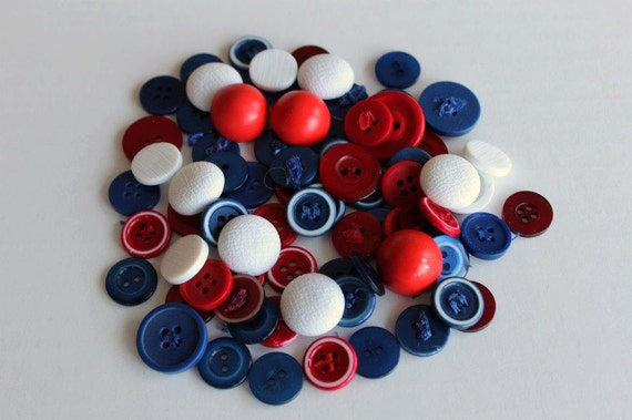 Red White Blue Plastic Buttons Classic style approx. 75 Patriotic and Nautical colors