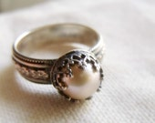 Crown Pearl Ring - Sterling Silver Wide Floral Band - Peach, Mauve or White 9mm Round Pearl - Patina Finish - made to order