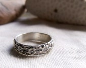 Floral Sterling Silver Band - Ring of Flowers - Wide Decorative Pattern - Any Size 4, 5, 6, 7, 8, 9, 10 Half Sizes Available